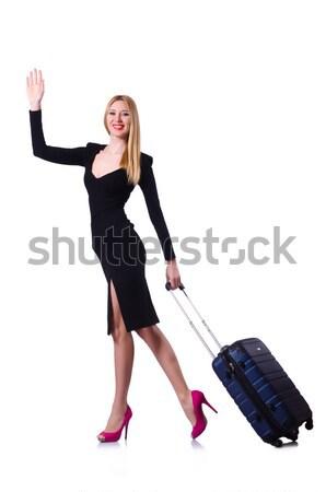 Fiatal szőke nő lány fekete ruha toló izolált Stock fotó © Elnur
