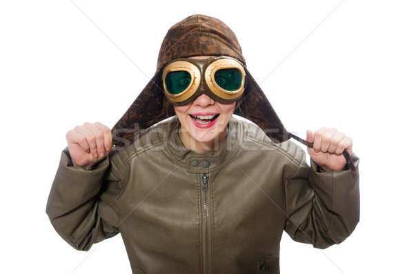 Funny woman pilot isolated on white Stock photo © Elnur
