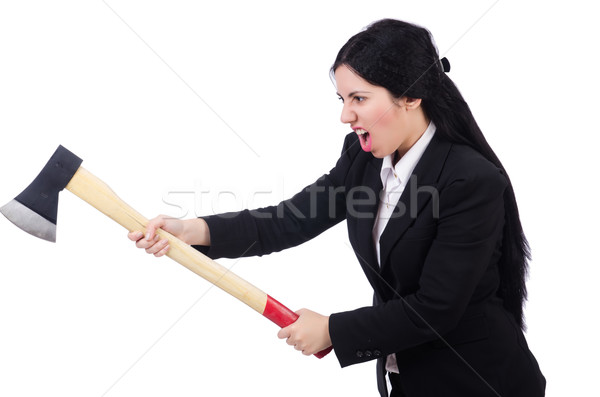 Businesswoman with axe isolated on white Stock photo © Elnur