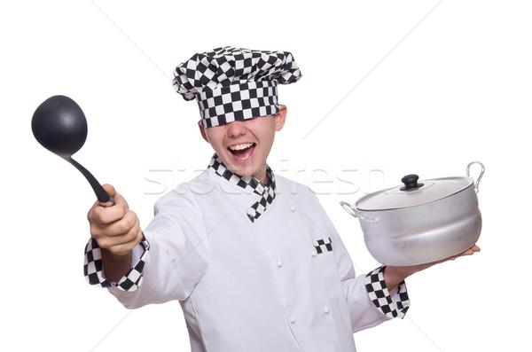 Foto d'archivio: Giovani · chef · pan · isolato · bianco