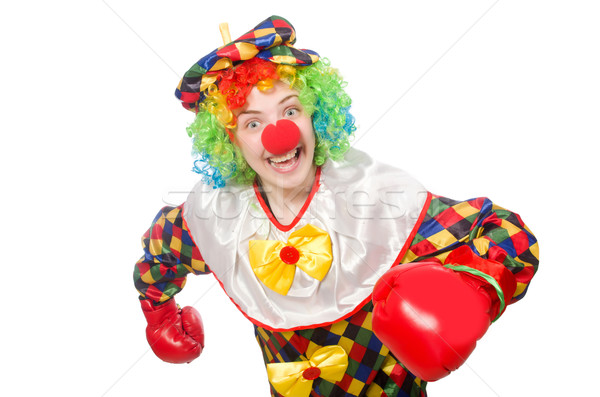 Clown with boxing gloves isolated on white Stock photo © Elnur