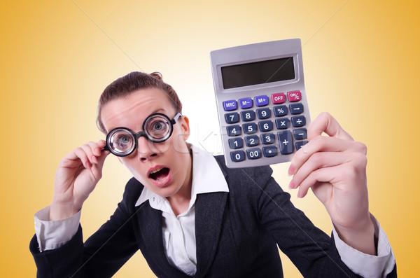 Stréber női könyvelő számológép pénz kéz Stock fotó © Elnur