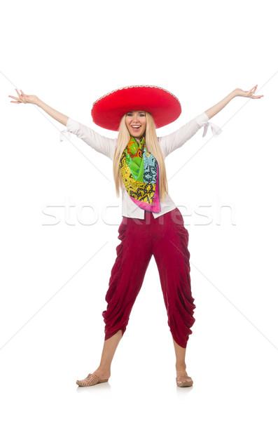 Mexicano menina sombrero dança branco mulher Foto stock © Elnur