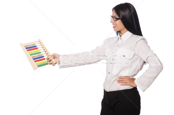 Woman in funny business concept on white Stock photo © Elnur