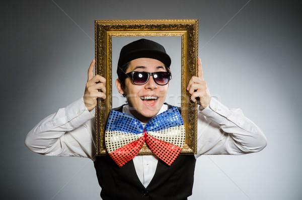 Grappig man fotolijstje bril leuk theater Stockfoto © Elnur