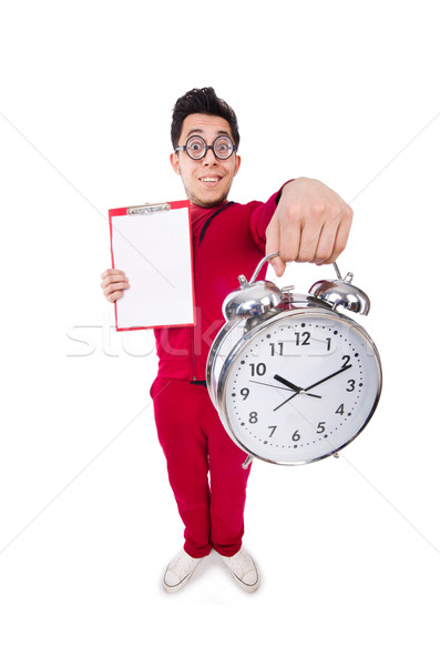Funny sportsman with alarm clock isolated on white Stock photo © Elnur