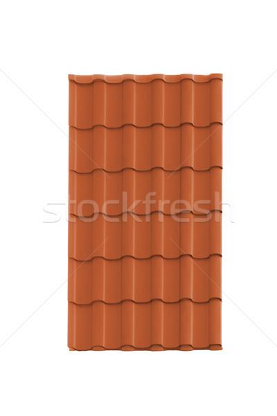Stock fotó: Tető · csempe · izolált · fehér · textúra · építkezés