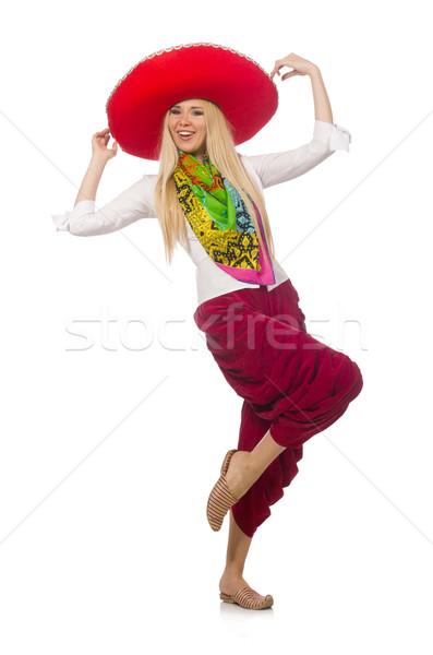 Mexican dziewczyna sombrero taniec biały kobieta Zdjęcia stock © Elnur