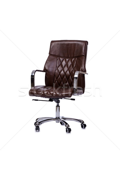 Brown leather office chair isolated on white Stock photo © Elnur