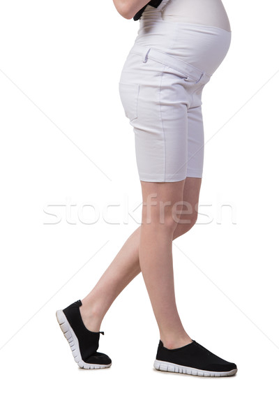 Pregnant woman isolated on the white Stock photo © Elnur