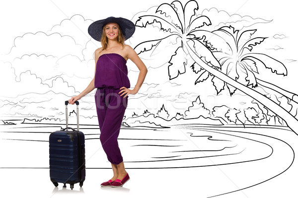 The young woman travelling tropical island in travel concept Stock photo © Elnur