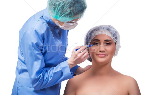 пластическая хирургия изолированный белый женщину лице Сток-фото © Elnur