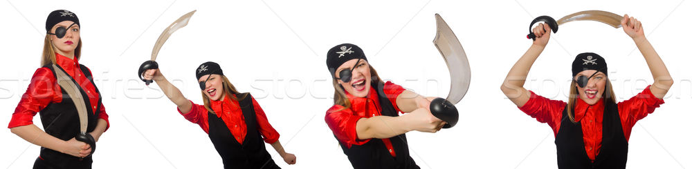 Mujer pirata conceptos blanco fiesta Foto stock © Elnur
