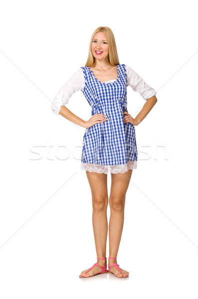 Caucasian woman in plaid blue dress isolated on white Stock photo © Elnur