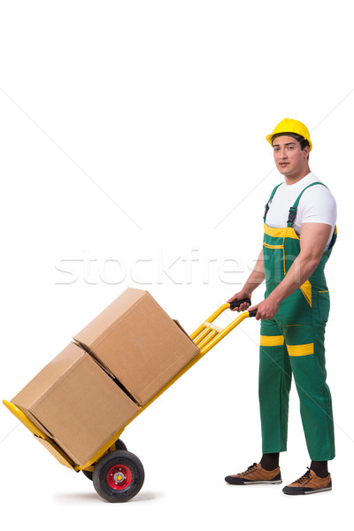 Man moving boxes isolated on the white background Stock photo © Elnur