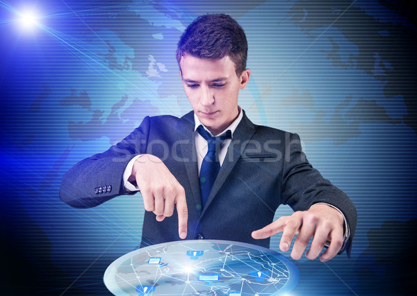 Stockfoto: Man · sociale · netwerken · internet · zakenman · web · groep