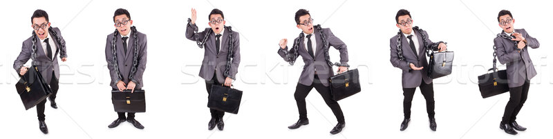 The businessman chained isolated on white Stock photo © Elnur