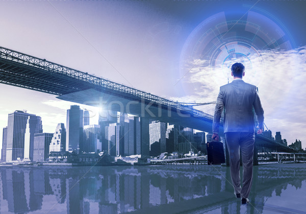 Imprenditore business globale uomo mondo terra spazio Foto d'archivio © Elnur