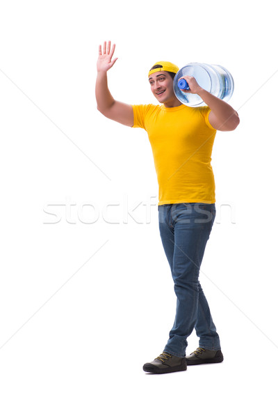 The man delivering water bottle isolated on white 商业照片 © Elnur