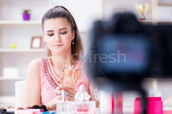 Beauté mode blogger vidéo blog femme Photo stock © Elnur
