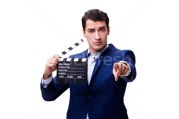 The handsome man with movie clapper isolated on white Stock photo © Elnur