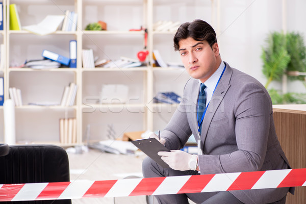 Fiatalember bűnözés nyomozás iroda üzlet biztonság Stock fotó © Elnur