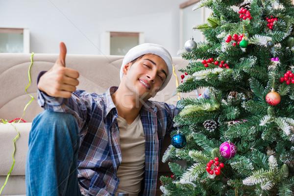 Człowiek kac christmas strony pracy szkła Zdjęcia stock © Elnur