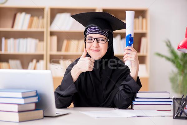 мусульманских девушки хиджабе изучения экзамены книгах Сток-фото © Elnur