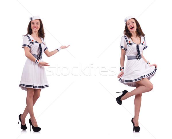 ストックフォト: コラージュ · 女性 · 船乗り · 孤立した · 白 · セクシー