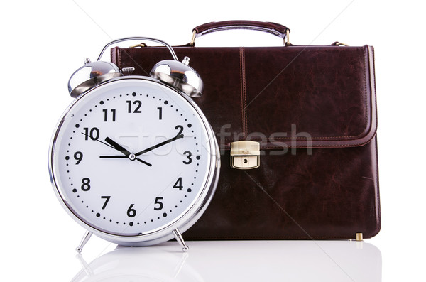 Alarm clock and briefcase isolated on white Stock photo © Elnur