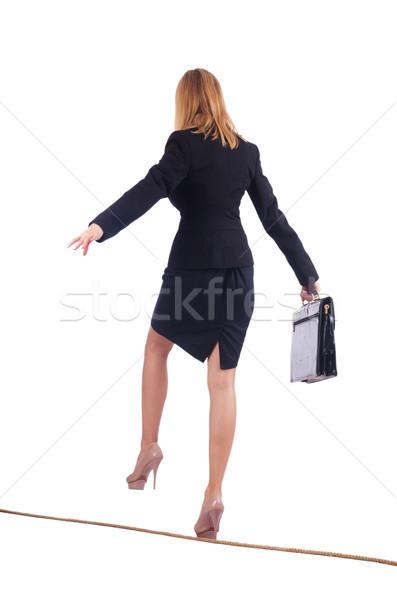 Empresária caminhada apertado corda isolado negócio Foto stock © Elnur