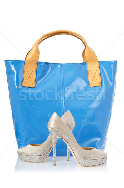 Сток-фото: пару · обувь · сумку · белый · моде · красоту