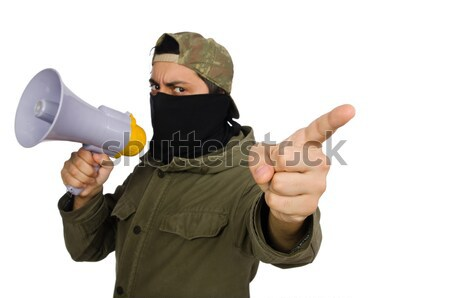 Nun with gun isolated on the white Stock photo © Elnur