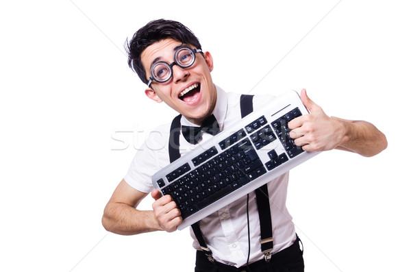 смешные компьютер geek изолированный белый бизнеса Сток-фото © Elnur