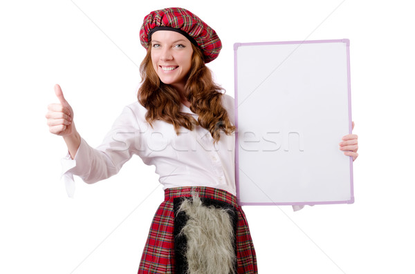 Scottish woman with board on white Stock photo © Elnur