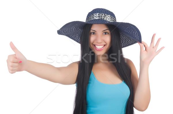 Stock fotó: Nő · visel · Panama · kész · nyári · vakáció · lány