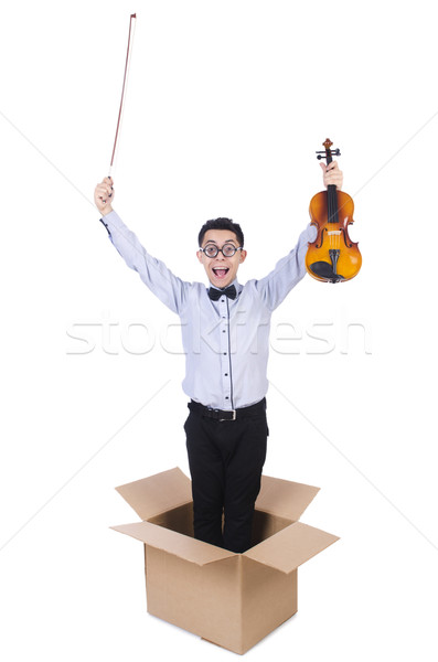 Man playing violin from the box Stock photo © Elnur