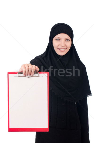 Woman with blank page on white Stock photo © Elnur