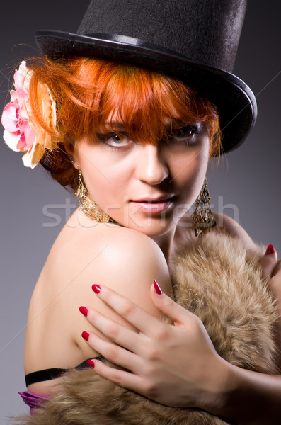 Woman in retro concept in dark room Stock photo © Elnur