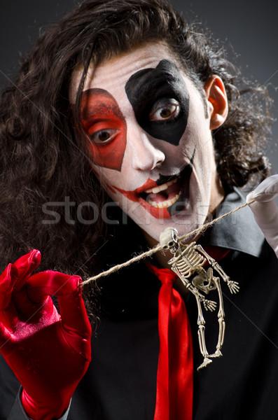 Vicces férfi csontváz kezek arc koponya Stock fotó © Elnur