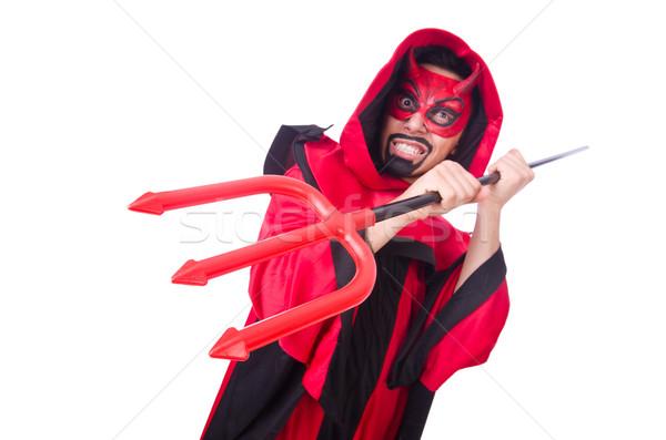Zdjęcia stock: Człowiek · diabeł · czerwony · kostium · uśmiech · sexy