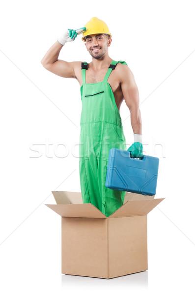 Сток-фото: человека · коробки · бизнеса · служба · фон · окна