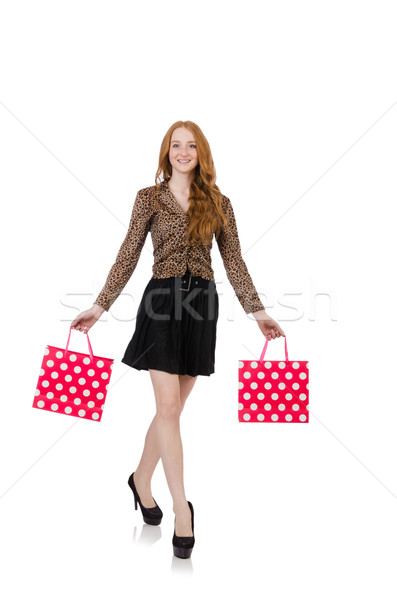 Woman after shopping isolated on white Stock photo © Elnur