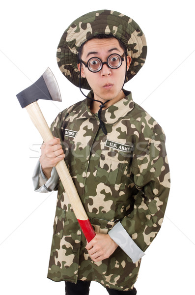 Funny soldier with the axe isolated on white Stock photo © Elnur