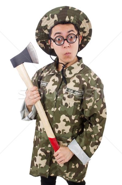 面白い 兵士 斧 孤立した 白 男 ストックフォト © Elnur