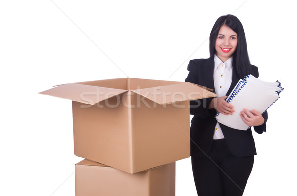 Young woman moving jobs isolated on white Stock photo © Elnur