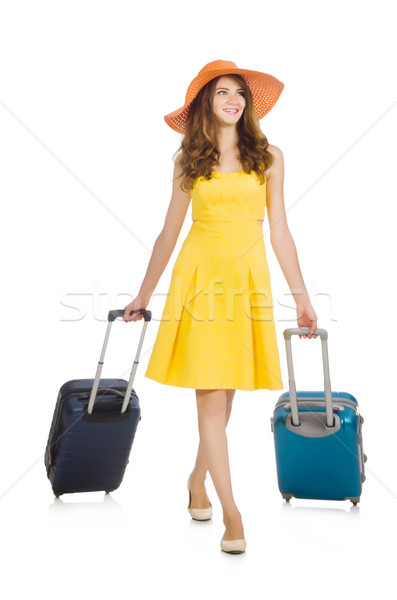 Stock photo: Travel vacation concept with luggage on white