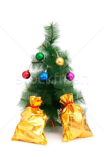 Karácsonyfa arany fehér háttér doboz labda Stock fotó © Elnur