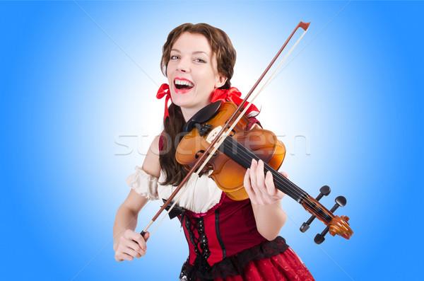 Nő hegedű izolált fehér lány fa Stock fotó © Elnur