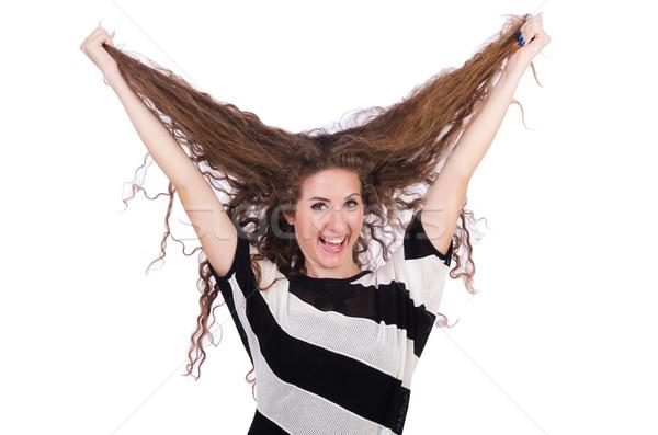 Stockfoto: Vrouw · lang · haar · kapsel · textuur · haren · schoonheid